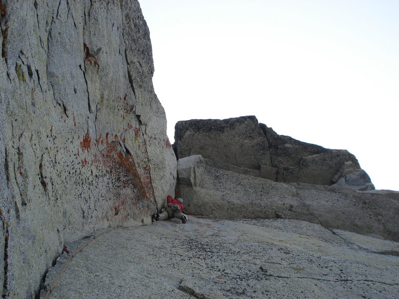 Rock Climbing Photo: 5.9 crack and crux roof above.