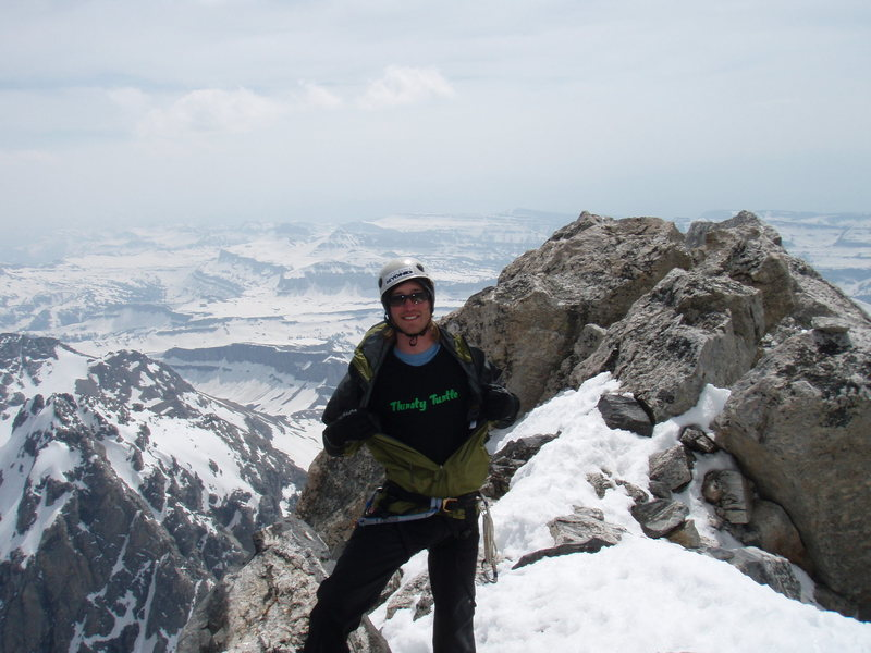 Top of the Grand after heading up the Petzl Direct