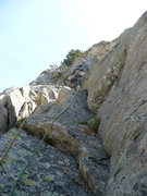 Rock Climbing Photo: Climbing the 5.6/7 dihedral on our 3rd pitch. Guid...