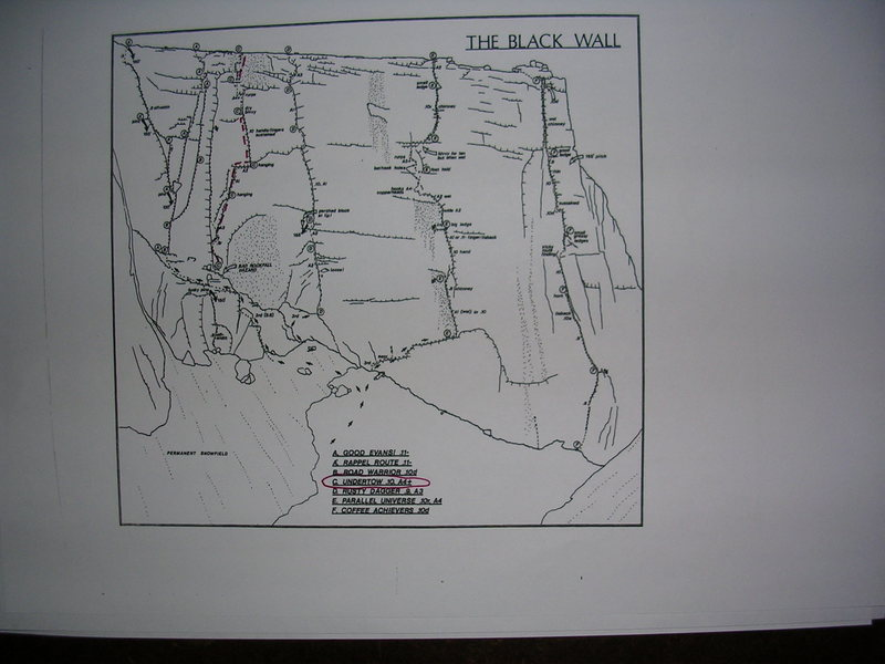 Rock Climbing Photo: Black Wall Topo, drawn 1989, not updated!