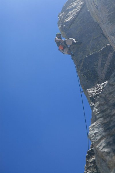 Rock Climbing Photo: Me leading Magellan at the crux.