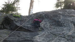 Rock Climbing Photo: M.A. almost to the top of Wrangler. One of her fir...