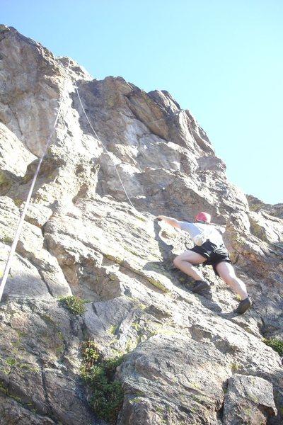 David DeCoste climbing sport route at Hurd Creek crag near Tabernash, CO.