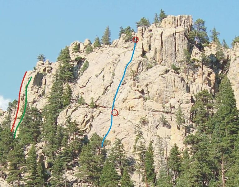 L - R: The Luminosity (red), Tower of Power (green), Contact (blue) with belay stations in red circles.