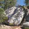 Cassieopeia Boulder (W Face), Tramway