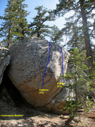 Rock Climbing Photo: Cassieopeia Boulder (NW Face), Tramway