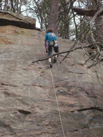 """Lowering off of """"University route"""" 5.6, my first out door lead"""