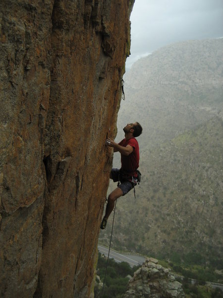 An aspirant to nobility preparing for the toss on King's Arete.<br> Photo by Mike Gura