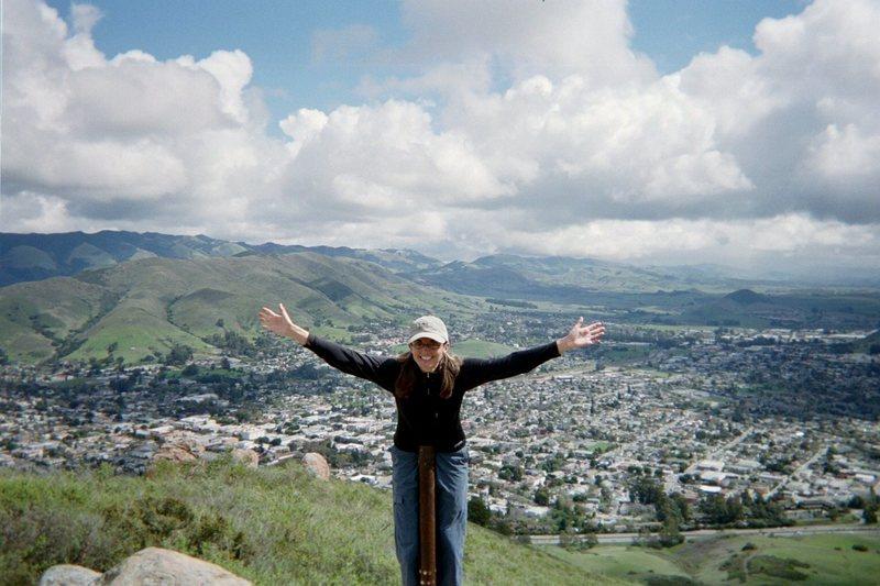 Deanna atop Cerro San Luis (aka Madonna Hill) overlooking our little California central coast town, San Luis Obispo