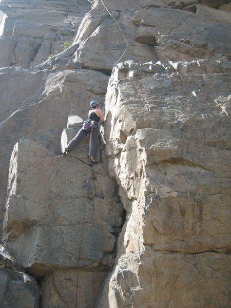 """""""La Quinta"""" (5.8ish) - Escuela de Roca @ the Canchacaya climbing area outside Lima, June 2008."""