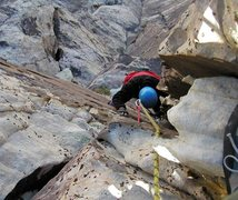 Rock Climbing Photo: Looking down the square-cut corner on pitch 3.