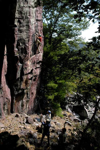 Rock Climbing Photo: Climber on Callipigeanous Direct at Devil's Lake