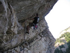 Rock Climbing Photo: Moving up to the shelf: S-Curve Overhang