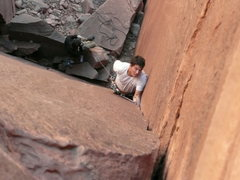 Rock Climbing Photo: Climber just below the Crux