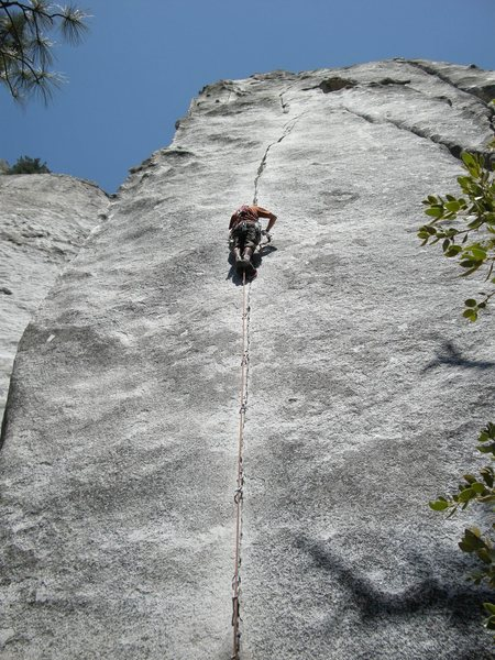 Aid climbing the ol' pirate.  C2 with lotsa small wires and a fun pendulum at the top.<br> <br> Photo by: Michelle Kemmer