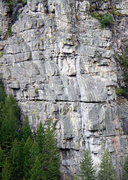 Rock Climbing Photo: Unknown party on the 2nd pitch, viewed from across...
