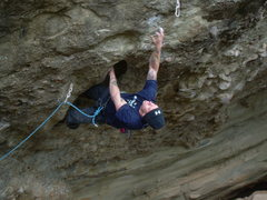 Rock Climbing Photo: Brian is nicely pumped and entering the pocket sec...