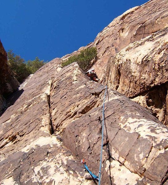 Rock Climbing Photo: Approaching the ledge on the second pitch.