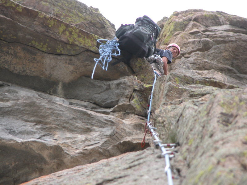 Belaying at the top of pitch 2. The roof was a little tricky.