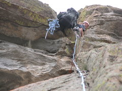 Rock Climbing Photo: Belaying at the top of pitch 2. The roof was a lit...