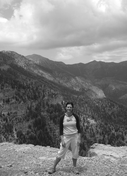 A great way to escape the heat of Vegas; hiking Mt. Charleston.<br> <br> My good friend Holly with the Charleston Peak in the background; on our way up to the meadows via the s. loop trail. (7/11/08)<br> <br> A refreshing hike!