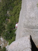 Rock Climbing Photo: Just exiting the offwidth section and finishing th...