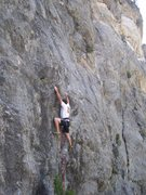 Rock Climbing Photo: Reaching for a small two finger pocket just below ...