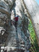Rock Climbing Photo: Kip Henrie making the third clip on Skinny Len Cri...