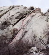 Rock Climbing Photo: Original line in red starts climbing on the arete ...