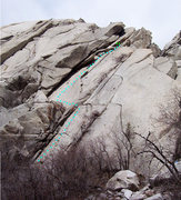 Rock Climbing Photo: There are three ways to access this climb. The blu...