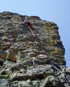 Rock Climbing Photo: Nearing the top. The upper half of the route is mu...