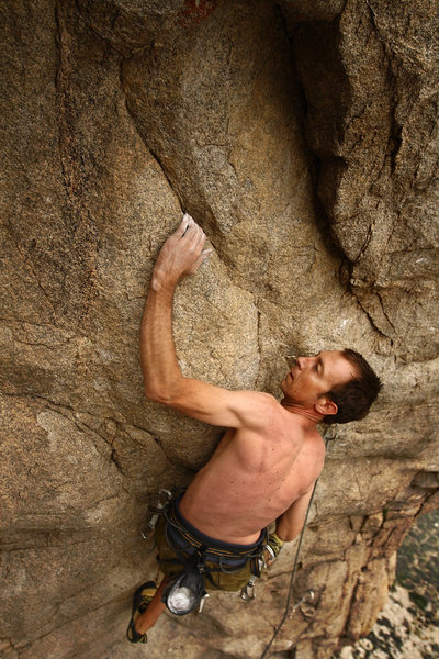 Addiction area of Pine Creek: Tai Devore redpointing another of his fine routes.