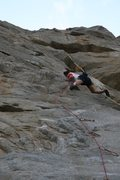 Rock Climbing Photo: Passing another bulge on Trundle Trophy, 5.10d