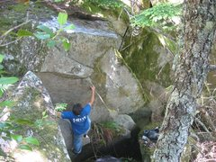 Rock Climbing Photo: Quieres Moss? Working through the crux.