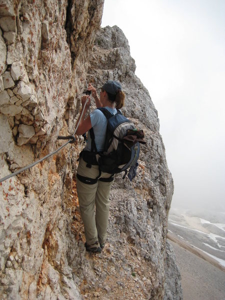 Rock Climbing Photo: Stepping out on the edge - ascent of Mount Triglav
