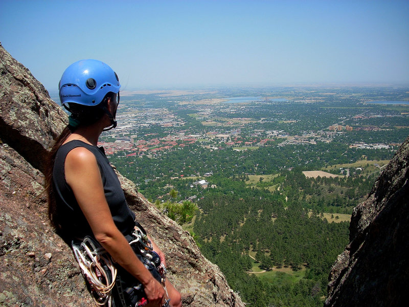 Jennifer relaxing and taking in the view from the top of the First Flatironette.