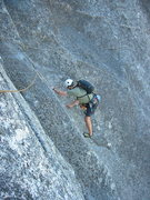 Rock Climbing Photo: Simon about to leave Unfinished Symphony and trave...