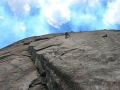 Rock Climbing Photo: Diana leading the 5.9+ tips crack.