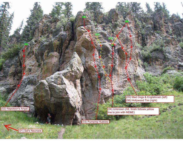 "Rock Climbing Photo: The Sponge. Yellow route is ""Hueco Pareidolia..."