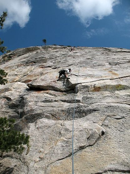 Rock Climbing Photo: Craig just past the crux of Betty (5.9), Tahquitz ...