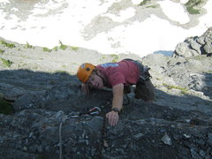 Rock Climbing Photo: Pulling over the last bulge on pitch 5.