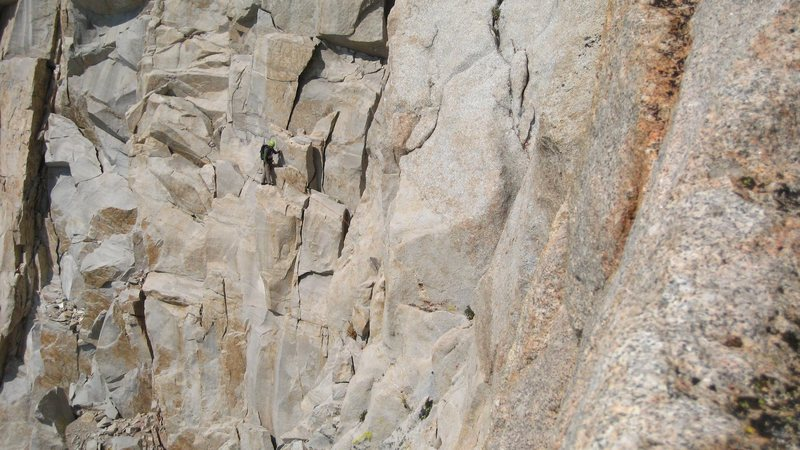 Climber on the fresh air traverse.
