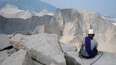 Rock Climbing Photo: Contemplating Mt. Russell from the summit of Whitn...