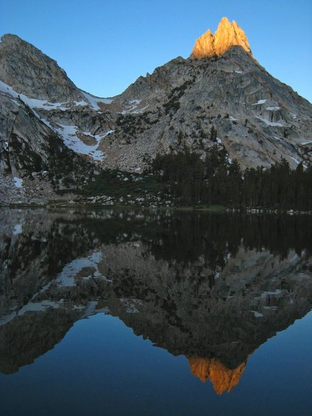 Ragged Peak reflected in Young Lake.  If you're soft like us and you camp here before climbing Conness you'll be rewarded with this view in the morning.