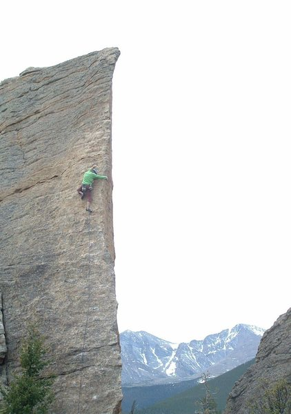 Rock Climbing Photo: Brenda Leach on Edge of Time, RMNP