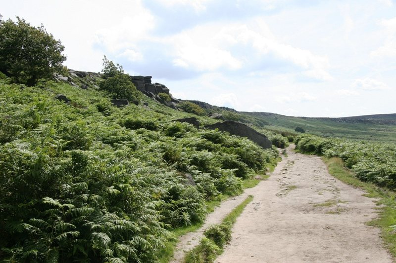 Walking along the path at the bottom of Burbage North