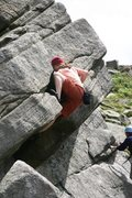 Rock Climbing Photo: Making the crux moves on Wednesday Climb, 5.10a