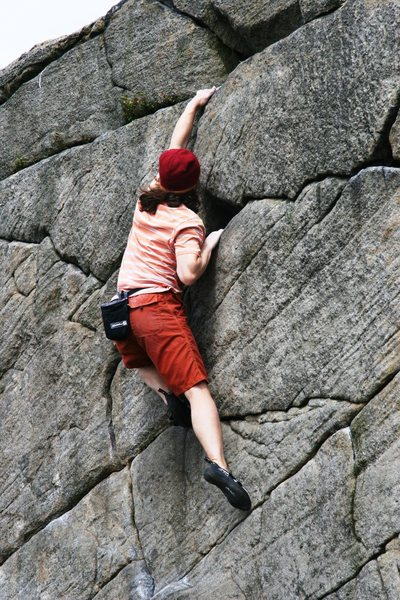 Rock Climbing Photo: Making the finishing moves on Route 2, 5.5