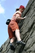 Rock Climbing Photo: The final long reaches on The Curse, 5.9