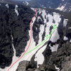 Taken July 12,'08 from Taylor Peak. Green line is the standard options for Taylor Glacier Headwall. Red line is what we chose to climb mostly because it was still in the shade when all the of the green line routes were in the sun at 7am.